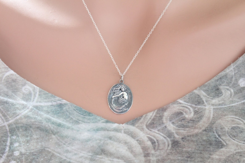 Sterling Silver Oval Mermaid Charm Necklace Silver Oval Mermaid Charm Necklace Mermaid Charm Necklace Mermaid Pendant Necklace