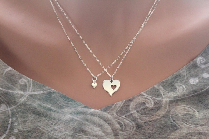 e612f130a7c1 Sterling Silver Mother Daughter Heart Necklaces, Mother Daughter Necklace  Set, Mom Daughter Heart Necklace Set, Cute Mom and Daughter Set