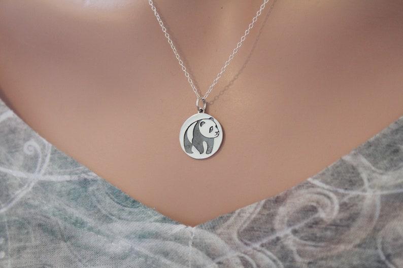 12c6f04eb5fd Sterling Silver Panda Charm Necklace, Etched Panda Pendant Necklace, Panda  Necklace Silver, Panda Disk Necklace, Silver Panda Necklace