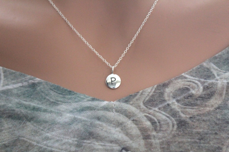 Small P Initial Necklace P Initial Charm Stamped P Initial Necklace Sterling Silver Simple P Initial Necklace Silver Stamped P Necklace