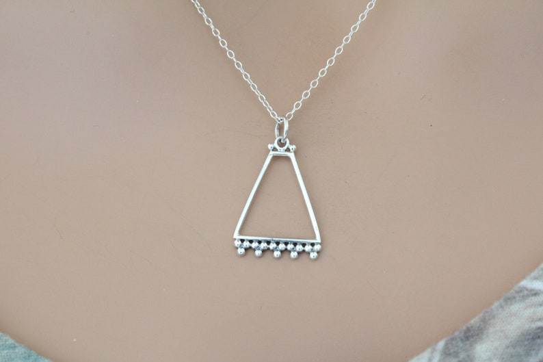 Trapezoid Charm Necklace Silver Trapezoid Charm with Granulation Necklace Sterling Silver Trapezoid Charm with Granulation Necklace