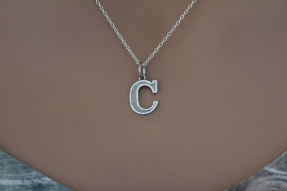 Typewriter C Initial Charm C Initial Sterling Silver Lowercase C Initial Charm C Charm Large C Letter Pendant Letter C Charm Initial C
