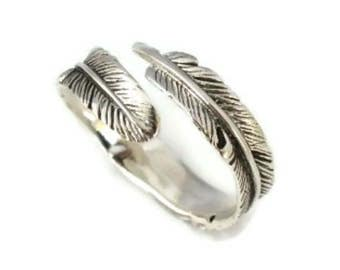 Adjustable Oxidized 925 Sterling Silver Feather Ring