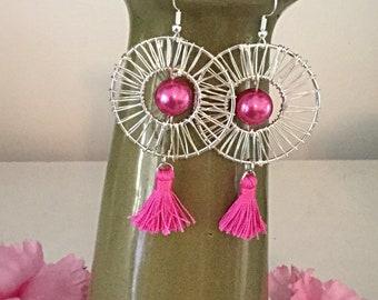 Pink Tassel Earrings, Cancer Awareness Earrings