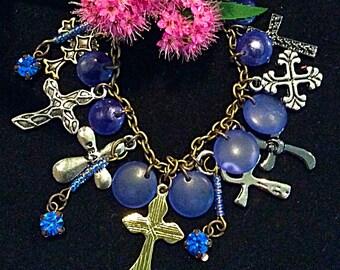 Cross Charm Bracelet, Cross Bracelet, Cobalt Blue Bracelet, FREE SHIPPING, Under Twenty Dollars, Religious Jewelry, Gift for Mom,