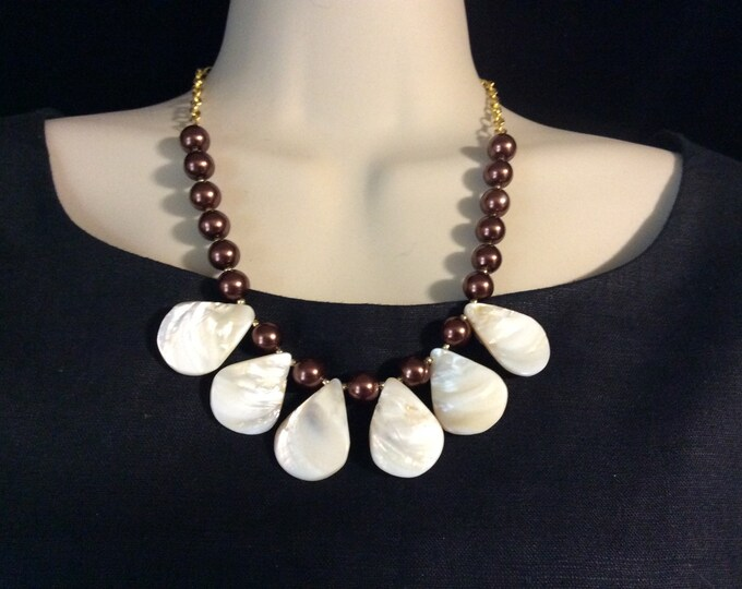 Teardrop Abalone Necklace,  Mother of Pearl Necklace, Chocolate/Brown Beads, Sophisticated Ladies Necklace, Length Adjustable, Beach Jewelry