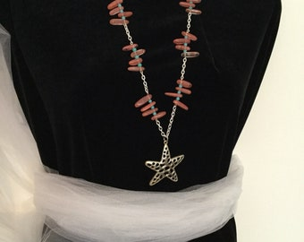 Star Necklace, Pink Turquoise Beads,  Deerskin Lace,  Western Style Necklace