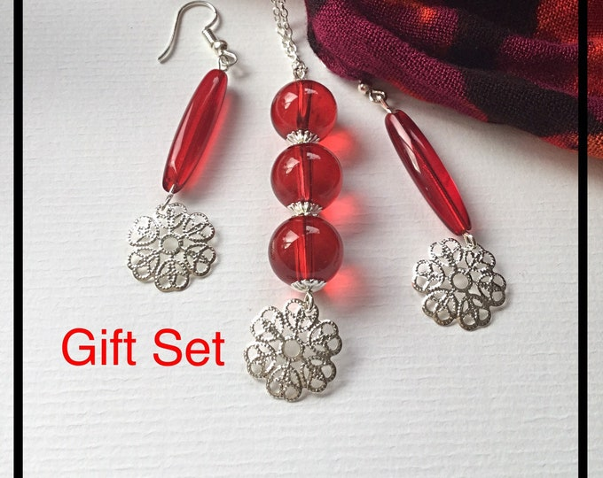 Red Jewelry Gift Set, Valentines Gift Idea, One of a Kind
