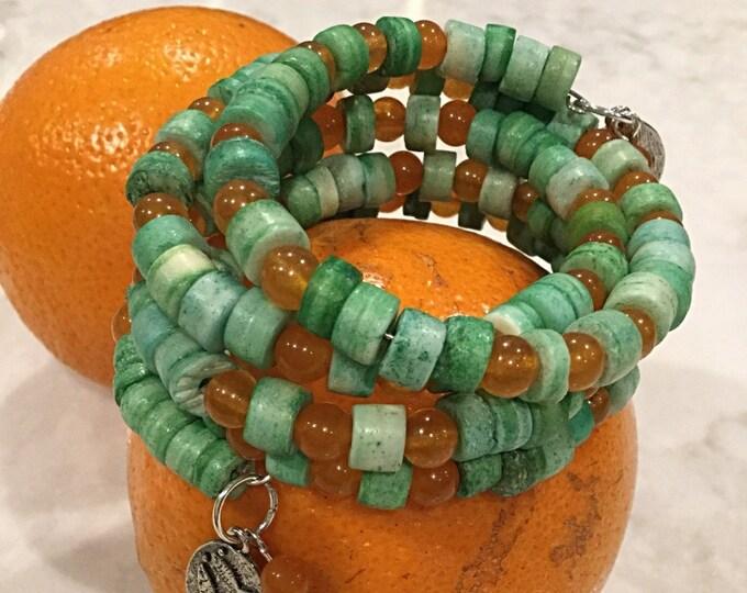 Bo-Ho Bracelet, Festival Bracelet, Free Spirit Bracelet, Lime and Orange Bracelet