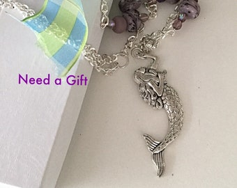Mermaid Necklace, Mermaid Pendant Purple Beads