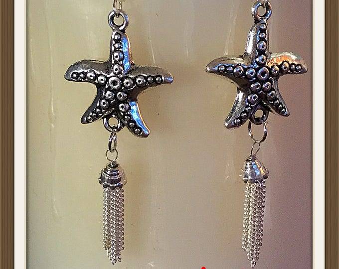 Starfish Earrings, Starfish Tassels Earrings, Handcrafted USA, One of a Kind