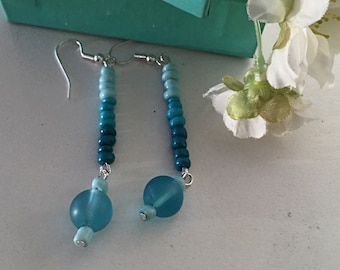 Blue Earrings. Ocean Colors Earrings One of a Kind