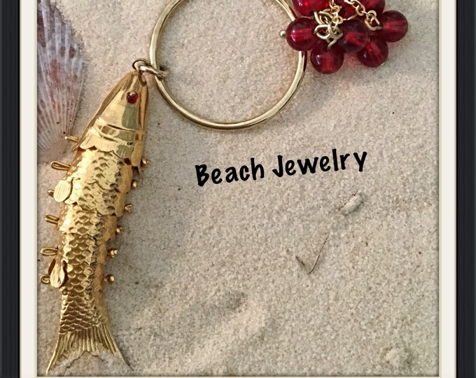 Goldfish Necklace, Red Glass Beads Necklace, Red Eyes Jointed Goldfish, Made in America, Length is Adjustable