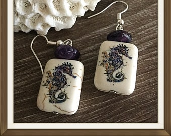 Seahorse Earrings, Purple Seahorses Earrings, Uniquely Different, One Of A Kind,  Handmade USA, Under Fifteen Dollars