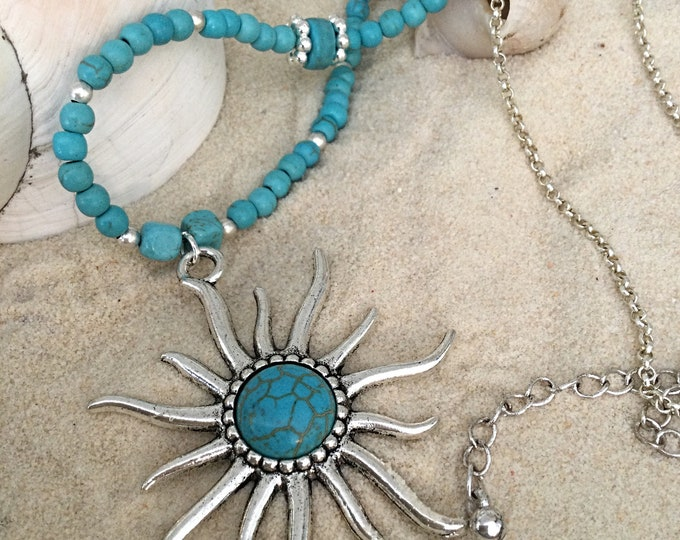 Turquoise Sun Pendant Necklace, One Of A Kind