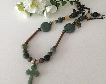 Jade Cross Necklace, Religious Jewelry