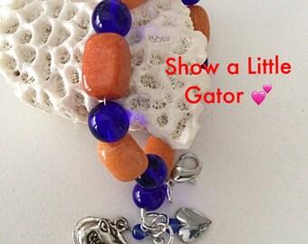 Florida Gator Charm Bracelet Heart Charm, Football