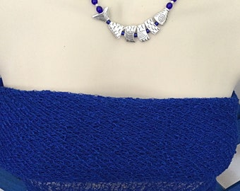 Silver Fish Necklace, Cobalt Jointed Fish Necklace