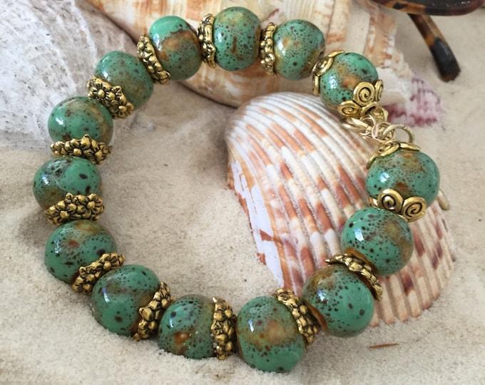 Green Bracelet, Yoga Bracelet , Green/brown-speckled-round-ceramic-beads, One of a Kind