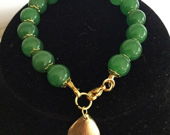 Bracelet, Green Glass Beads, Gold Tear Drop Charm