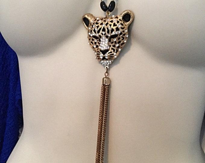 Cheetah Necklace, Rhinestone Cheetah, Double Strand Necklace, Tassel Cheetah Necklace
