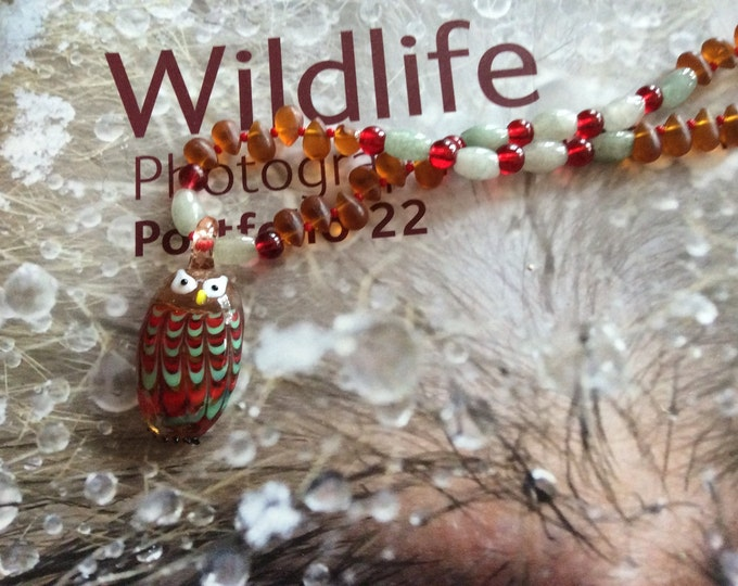 Owl Necklace, Glass Owl Necklace,  Red Auqua Glass Necklace, Owl Collector, Nature Lover Necklace, Adjustable Affordable Great Ladies Gift