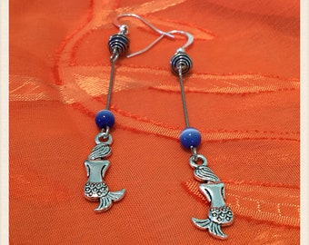 Silver Mermaid Earrings, Light Blue Tiger Eye Earrings, Affordable, One Of A Kind, Unique  Mermaid Earrings