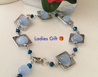 Baby Blue Glass Beads Bracelet Elegant Ladies Gift