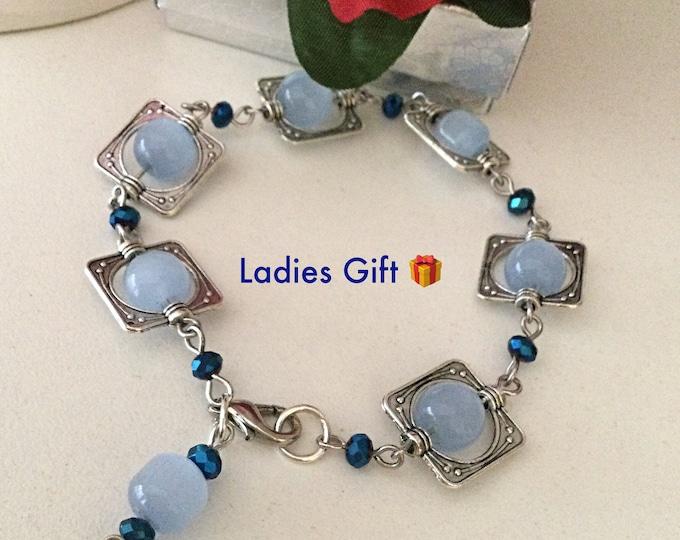 Baby Blue Glass Beads Bracelet Elegant Ladies Gift