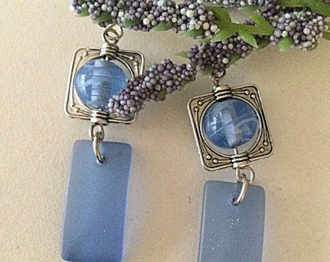 Baby Blue Glass Earrings, Only 1 Pair