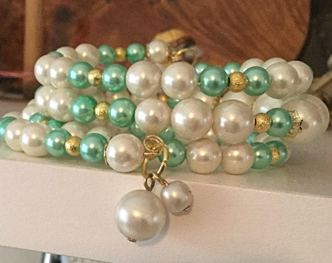 Pearls and Mint Beads Bracelet, Wedding Bracelet