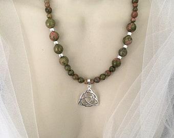 Celtic Trinity Knot Necklace, Unakite Beads