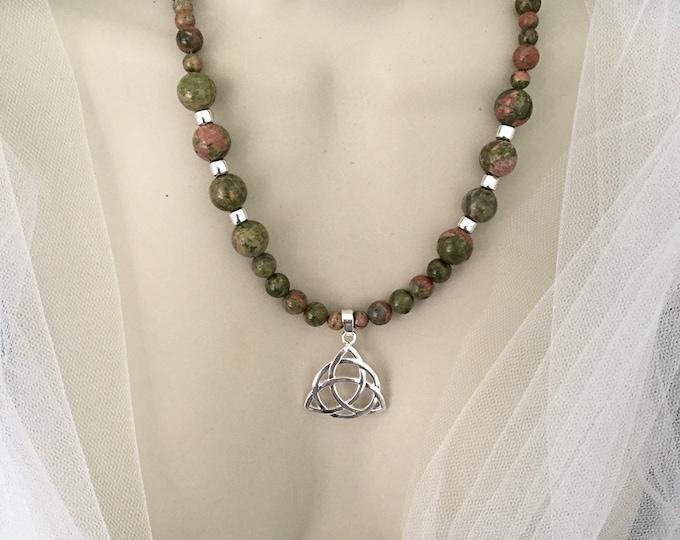 Celtic Trinity Knot Necklace, Unakite Beads