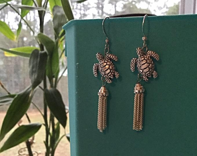 Sea Turtles Earrings, Turtles with Tassels, Sea Turtles, Made in USA