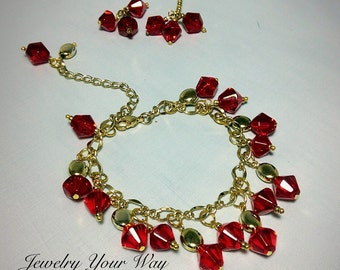 Roses Red Charm Bracelet, Red Crystals Godtone Charm Bracelet, Free Matching Earrings, Beautiful All Occasion Ladies Gift
