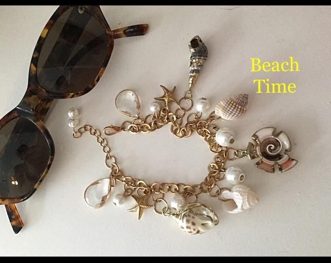 Beach Charm Bracelet, Chic Beach Bracelet, Gold Trim Shells, Affordable