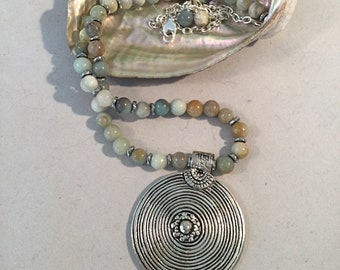 Amazonite Necklace. Labyrinth Pendant Necklace