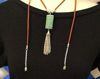 Leather Tie Tassel Necklace,  Sundance Inspired, Jade
