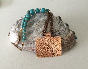 Copper Necklace, Turquoise Bead Necklace