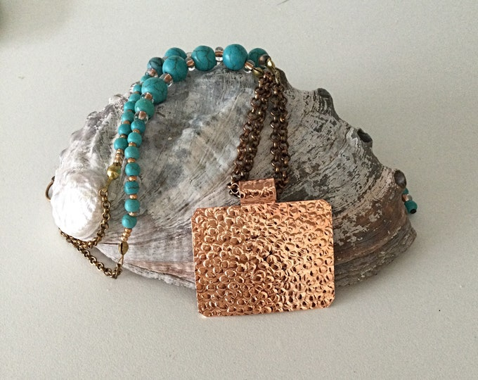 Turquoise Bead Necklace, Chains and Copper Pendant. Modern Cowgirl Necklace. One of a Kind Western Necklace