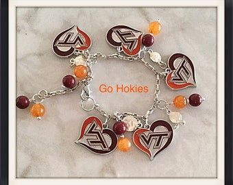 Hokies Bracelet, Virginia Tech Bracelet, One of a Kind, Hokies Jewelry, One of a Kind
