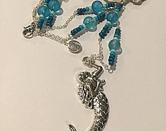 Mermaid Necklace. Ocean Colored Beads