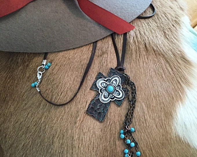 Cross Turquoise Leather Necklace, Sundance Inspired, One of a Kind, Western Style Jewelry