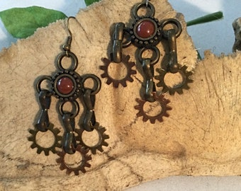Steampunk Earrings Drop Dangle, Only 1 Pair Made