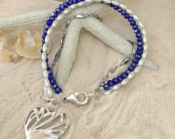 Heart Bracelet, Three String Bracelet with Heart Charm