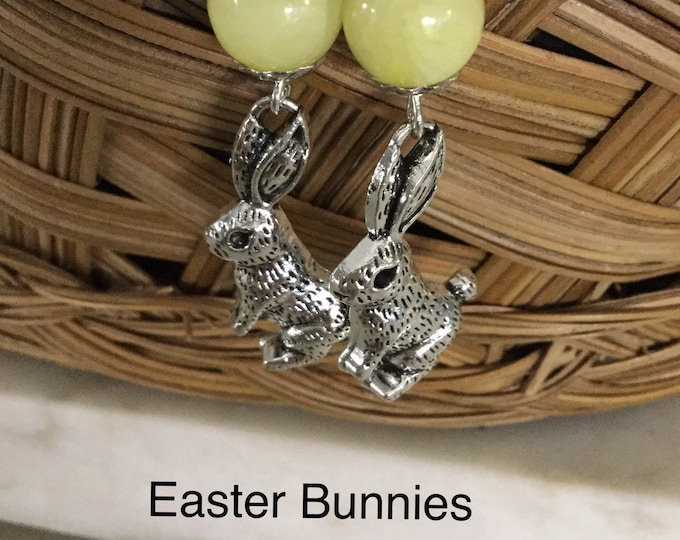 Easter Bunny Earrings, Bunny Earrings, White, Pink and Yellow