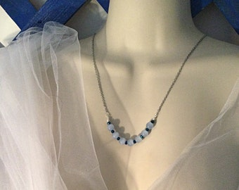Baby Blue Glass Beads Necklace, Only One