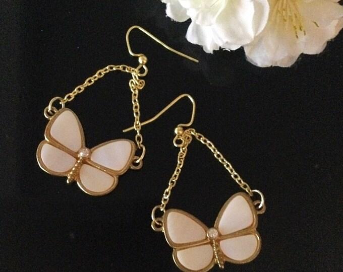 Butterfly Earrings, Swing, Mother of Pearl