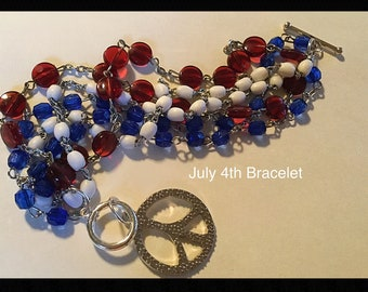 July 4th Bracelet, Peace Sign Bracelet, Red White Blue Bracelet, God Bless America Bracelet, Made in America Bracelet