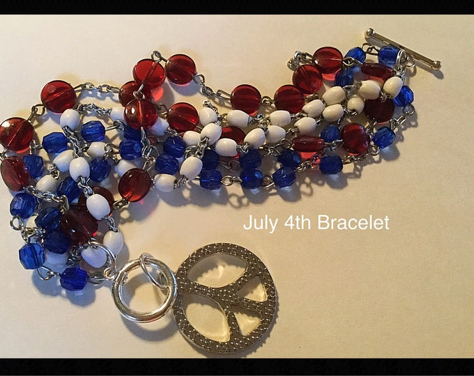 July 4th Bracelet, Peace Sign Bracelet, Red White Blue Bracelet, God Bless America Bracelet, Made in America Bracelet